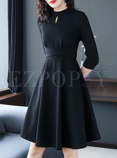 Black Three-quarter Sleeve A Line Dress