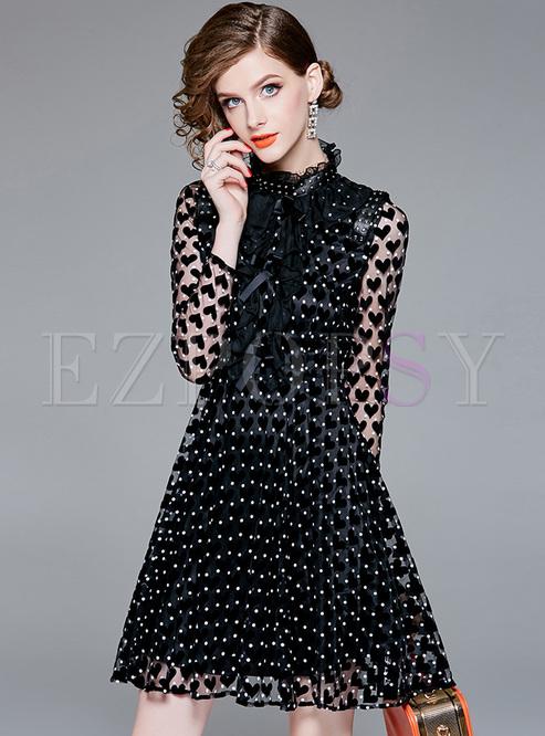 Black Polka Dots Tied Gauze Dress