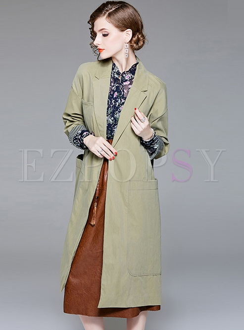 Fashionable Suit Collar Trench Coat