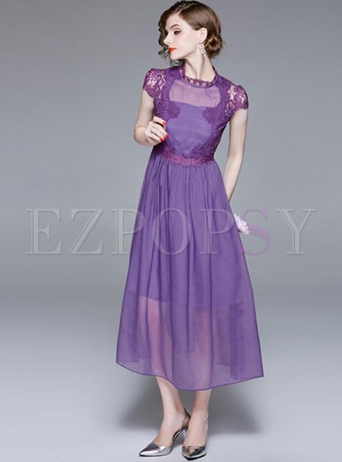 Purple Double-layered Gauze Splicing Dress