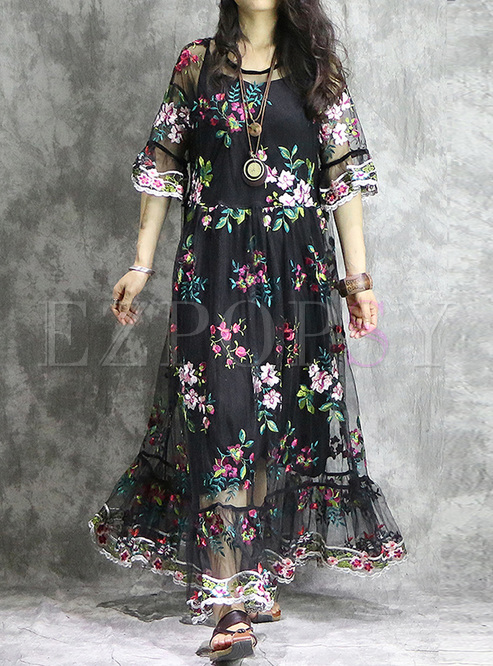 Black Embroidered Gauze Big Hem Maxi Dress
