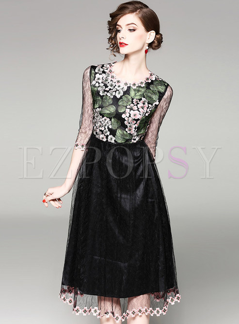 See Through Embroidered High Waist Skater Dress
