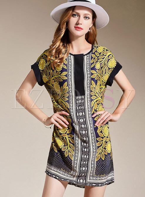44f2d5cffdd Shift Dresses.   Silk Sunflower Print Plus Size ...