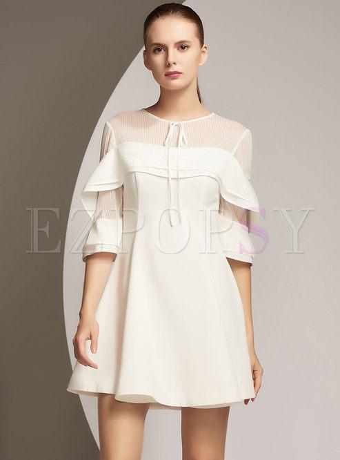 White Elegant Falbala Tied Stitching A Line Dress
