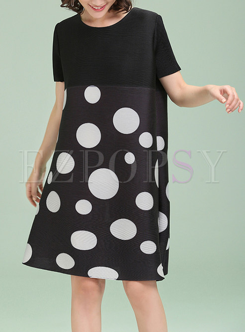 Polka Dots Short Sleeve Shift Dress