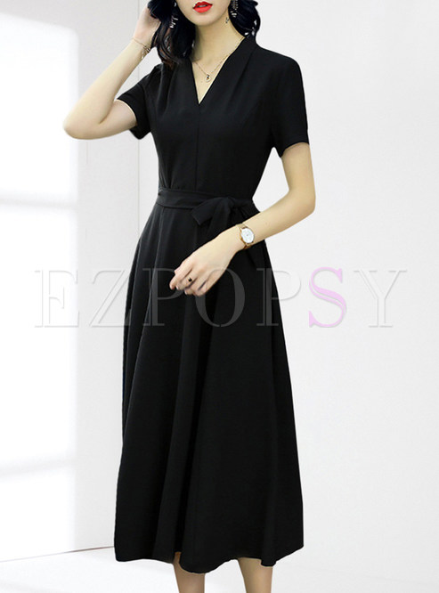 Black Tied Short Sleeve Stitching Skater Dress