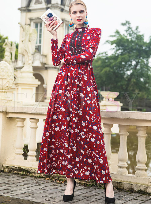 Vintage Floral Print Gathered Waist Maxi Dress