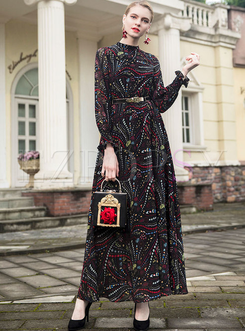 Street Vintage Flare Sleeve Chiffon Big Hem Dress