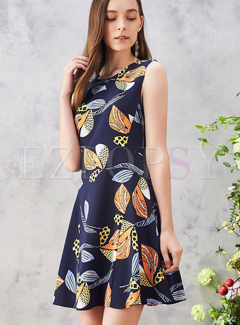 Brief Sleeveless Print High-Rise Skater Dress