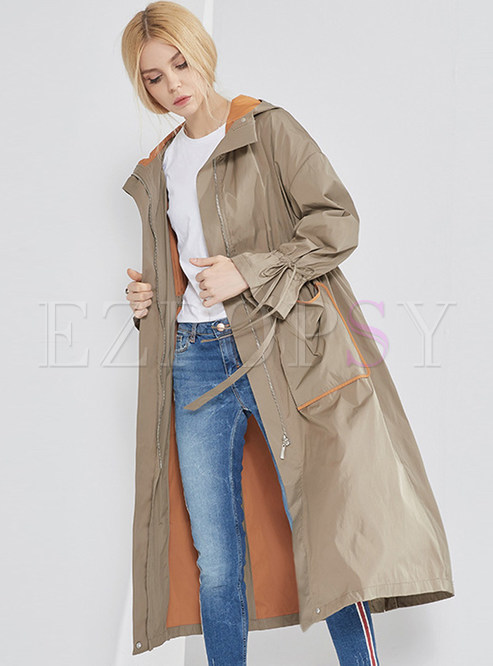 Long Hooded Color-Blocked Zippered Trendy Coat