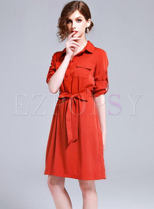 Chic Turn-down Collar Tie-waist Dress