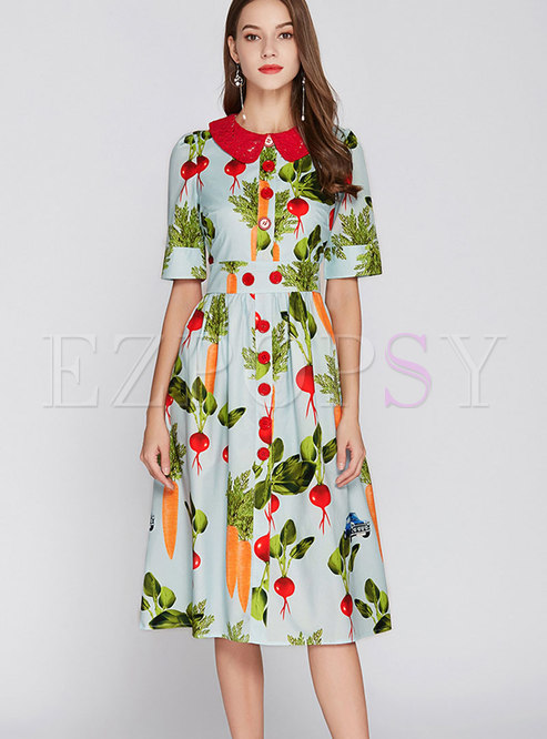 Turn-down Collar Single-breasted Print Dress