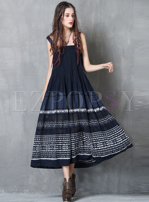 Ethnic Embroidered Big Hem Sling Dress