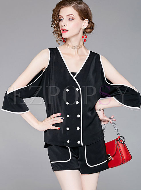 3bebeb421d2 Two-piece Outfits.   Black Double-Breasted Off Shoulder Blouse ...