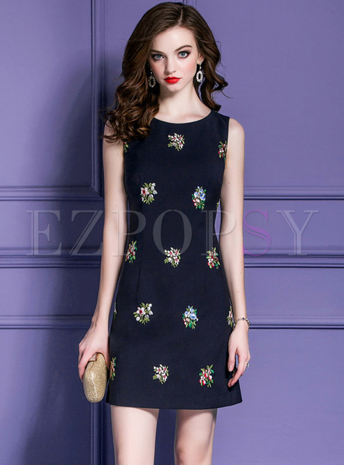 Stylish Sleeveless Floral Embroidered Mini Dress