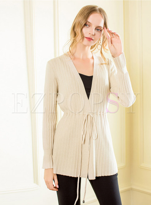 Trendy Long Sleeve Self-Tie Cardigan Knitted Sweater