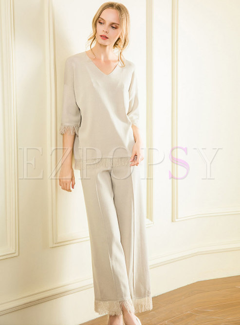 Stylish Tied Tassel Half Sleeve Top & Wide Legs Pants