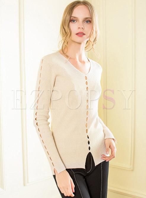 Long Sleeve Hollow Wool Sweater