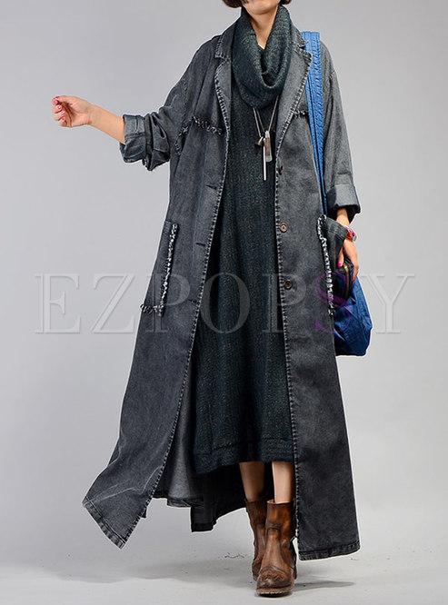 bbda4c0d86710 Trench Coats.   Black Plus Size Distressed Denim ...