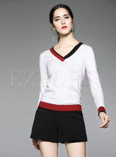 Trendy Hit Color V-neck Wool Sweater