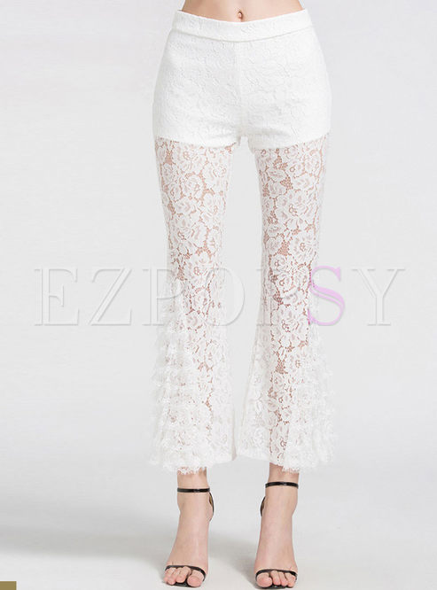 High Waist Lace Splicing Perspective Flare Pants