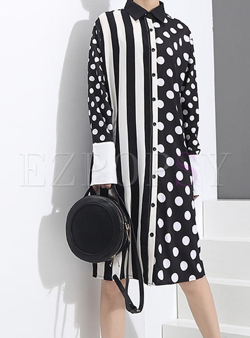 Brief Polka Dots Paneled T-Shirt Dress