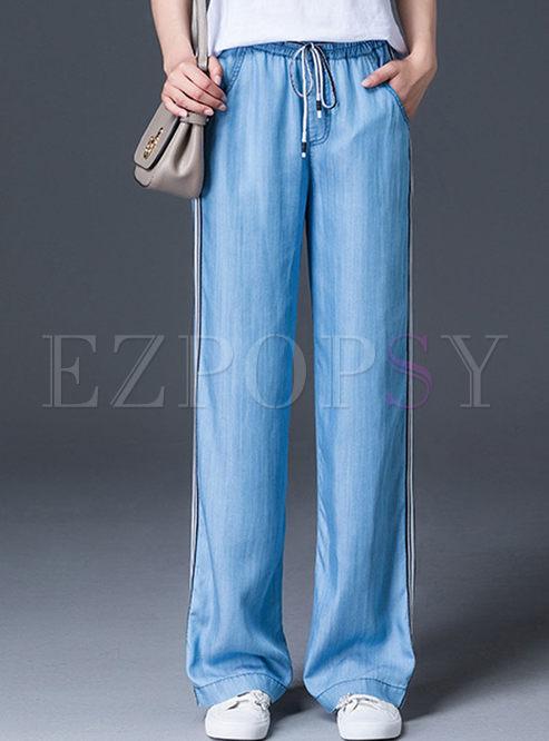 Trendy Striped Splicing Tied Wide Leg Pants