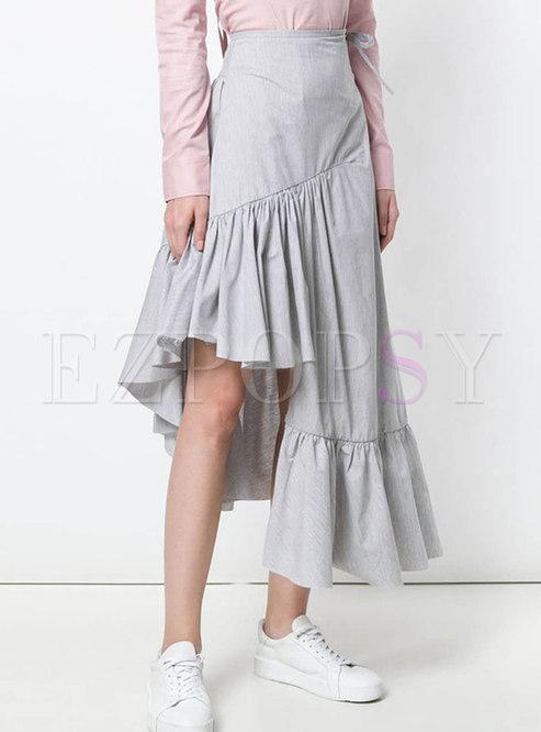 Elegant High-Rise Ruffled Asymmetric Skirt