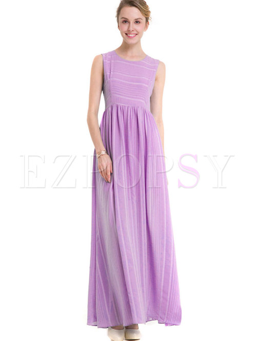 O-neck Sleeveless Striped Gathered Waist Chiffon Dress