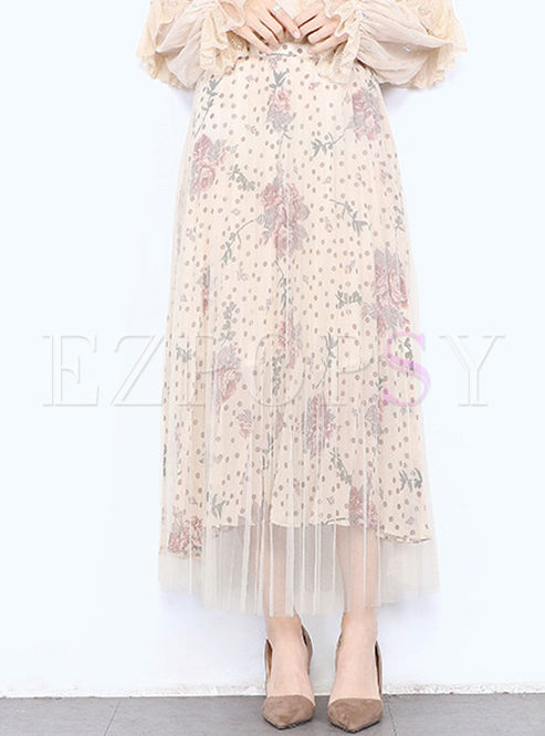 Fashionable Print Gauze Pleated Skirt