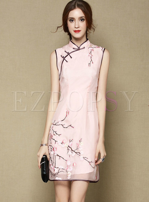 Pink Stand Collar Embroidered Vintage Sleeveless Silk Dress