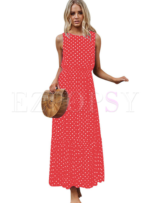 Sleeveless Polka Dots Print Maxi Dress