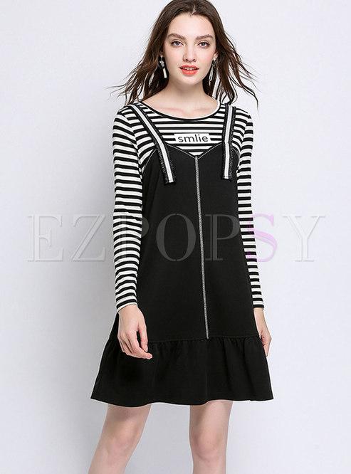 Plus Size Striped Top Zipper Front Overall Dress Ezpopsy