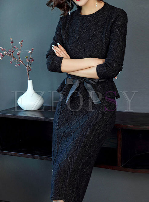 Brief O-neck Belted Sweater & Slim Knitted Skirt