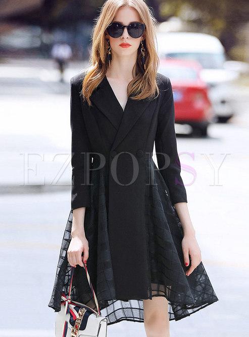 OL Notched Lace-paneled Big Hem Skater Dress