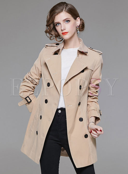 Pure Color Double-breasted Belted Slim Trench Coat