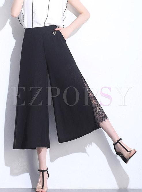 High Waist Lace-paneled Chiffon Wide Leg Pants