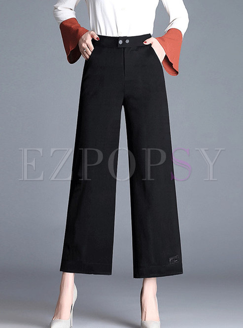 Brief Black High Waist Wide Leg Pants With Side Pockets