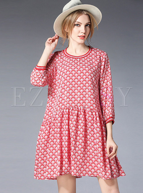 Three Quarters Sleeve Print Mini Shift Dress