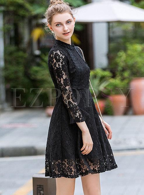 Dresses Skater Dresses Black Lace Paneled Standing Collar Skater