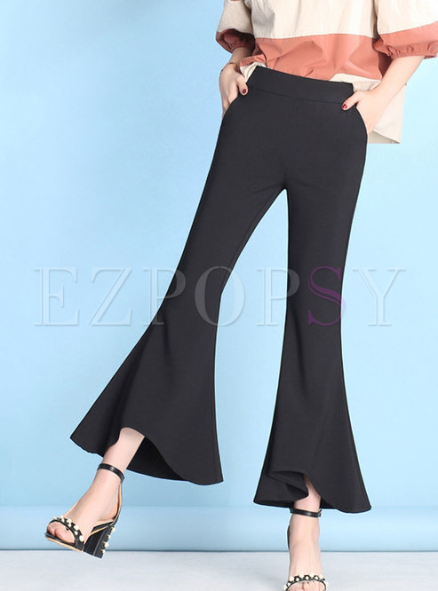 Fashion Black Vintage Ruffled Mermaid Flare Pants