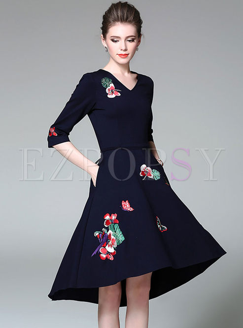 Three Quarters Sleeve Embroidered Tied Asymmetric Dress