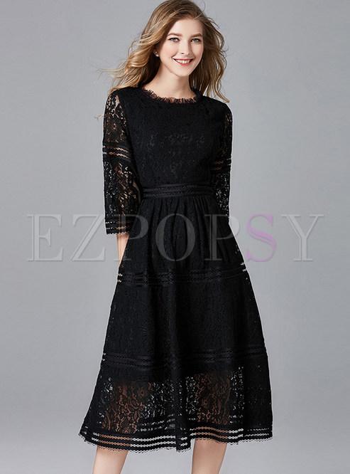 Stylish Half Sleeve Plus Size Lace Dress
