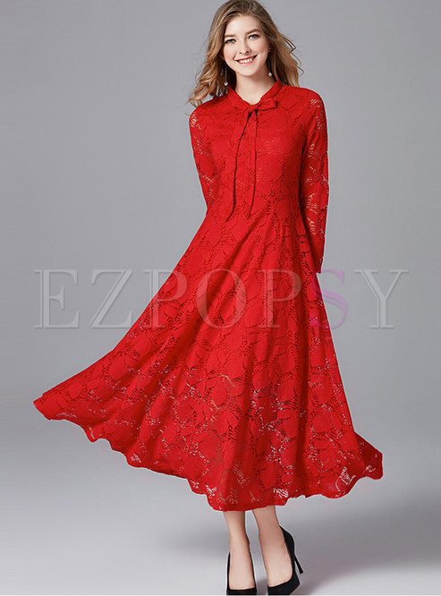 Elegant Long Sleeve Big Hem Plus Size Cocktail Dress