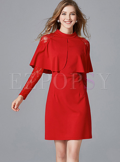Stylish Solid Color Cloak Sheath Dress