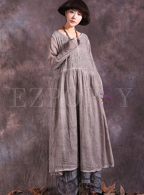 Vintage Long Sleeve Shift Shirred Maxi Dress
