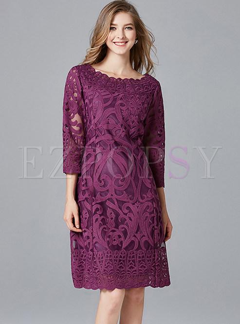 Fashion Slash Neck Waist Plus Size Dress