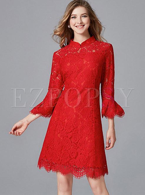 Vintage Mandarin Collar Flare Sleeve Sheath Dress