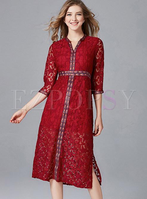 Lace Dresses Cheongsam neck Improved Plus V Dresses Skater Size AxXr8YAq