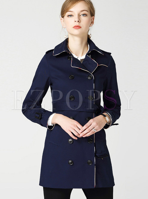 Lapel Plaid Hem Slim Trench Coat